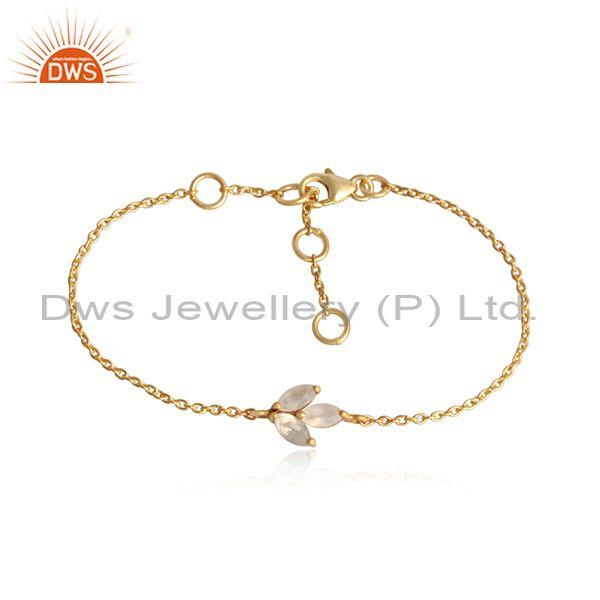 Rainbow Moon Stone Charm Gold On 925 Silver Chain Bracelet