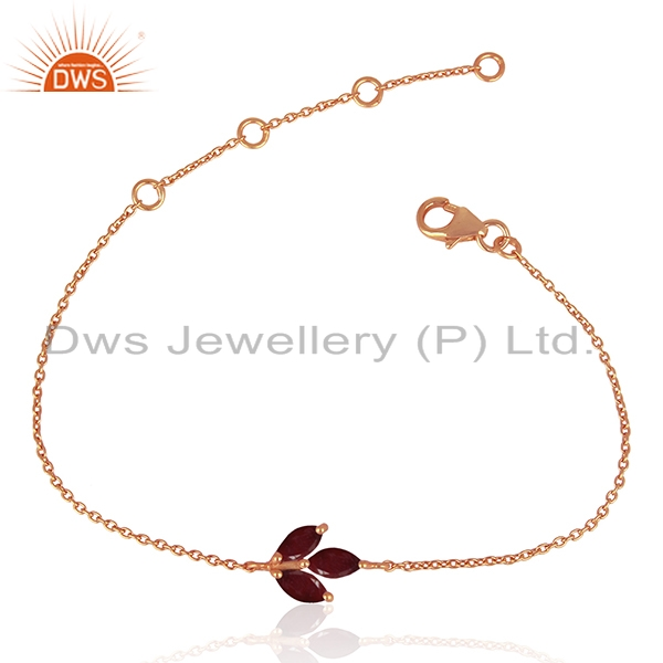 Ruby Corundum Gemstone Rose Gold Plated 925 Silver Chain Bracelet Wholesale