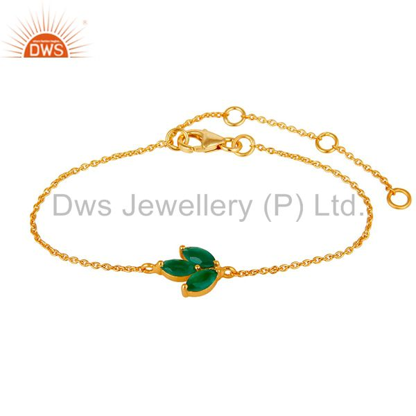22k gold plated 925 silver green onyx gemstone chain bracelet with lobster lock