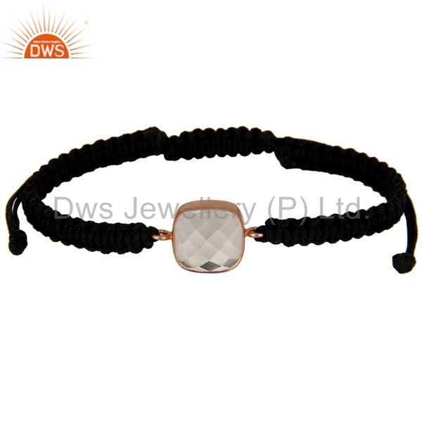 18K Rose Gold Plated Sterling Silver Crystal Quartz Black Cord Macrame Bracelet