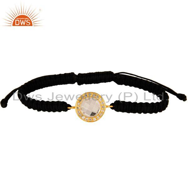 18k Gold Plated Sterling Silver Crystal & Topaz Macrame Adjustable Bracelet