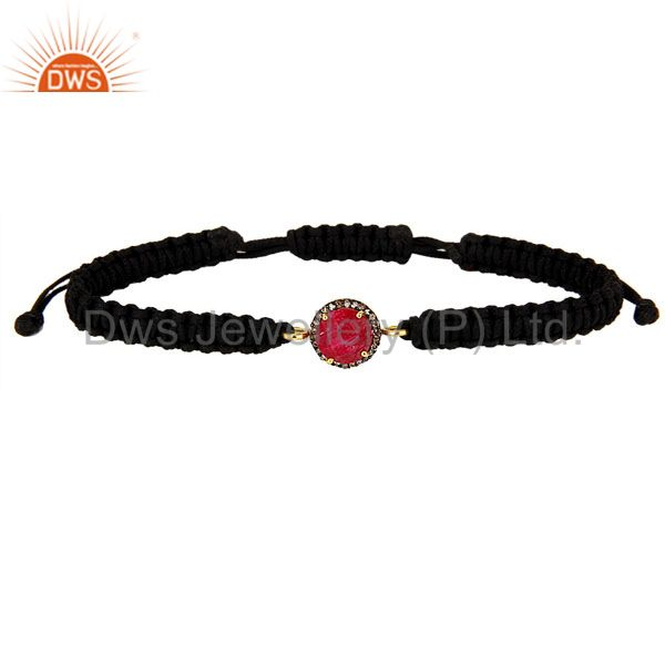 18K Gold Sterling Silver Pave Diamond And Ruby Black Cord Macrame Bracelet