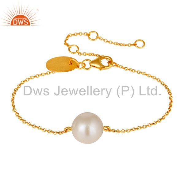 18k Gold Plated Sterling Silver Cable Link Chain Bracelet with Pearl