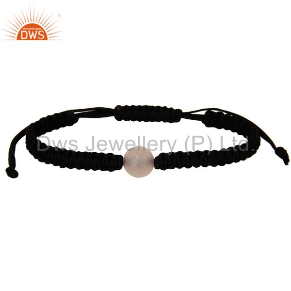 Handmade cotton dori simple fine bracelet with chalcedony