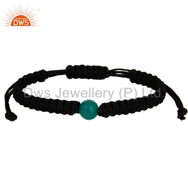 Handmade cotton dori simple fine bracelet with green onyx