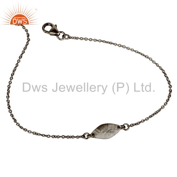 Luxury Black Oxidized 925 Sterling Silver Fashion Jewellery Chain Bracelet