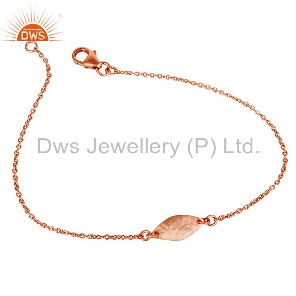 Luxury 18k rose gold plated 925 sterling silver fashion jewellery chain bracelet