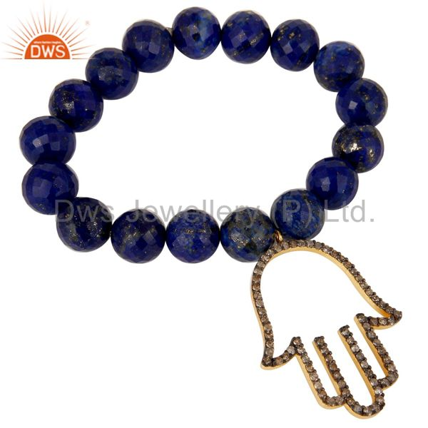 18k Gold Plated Sterling Silver Hand Design Diamond & Lapis Charms Bracelet