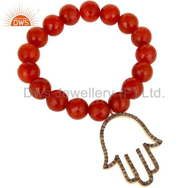 18k Gold Plated Sterling Silver Hand Design Diamond & Red Onyx Charms Bracelet