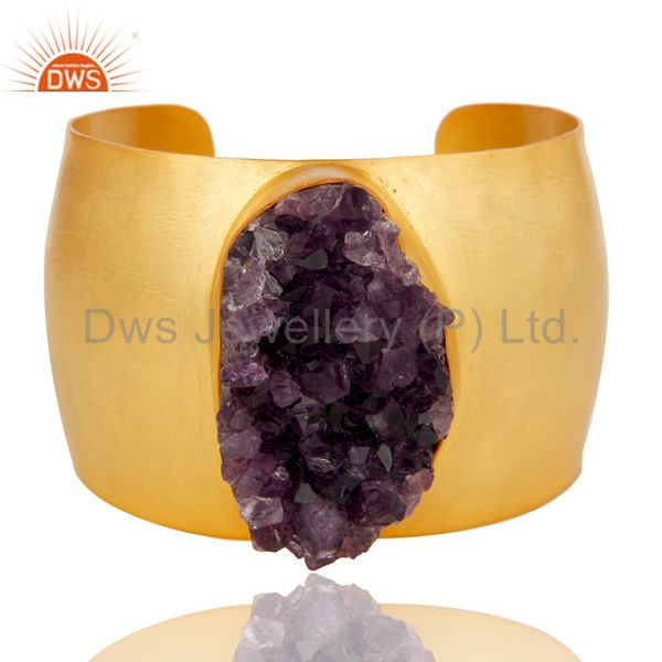 Traditional handmade 22k gold plated wide druzy amethyst openable brass bangle