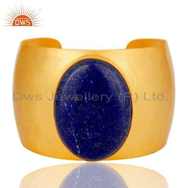 Traditional Handmade 22K Gold Plated Wide Lapis Lazuli Openable Brass Bangle
