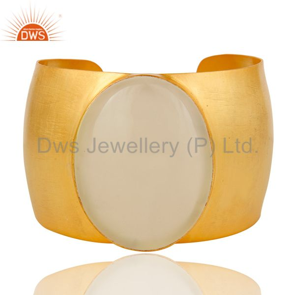 Traditional handmade 22k gold plated natural chalcedony openable brass bangle