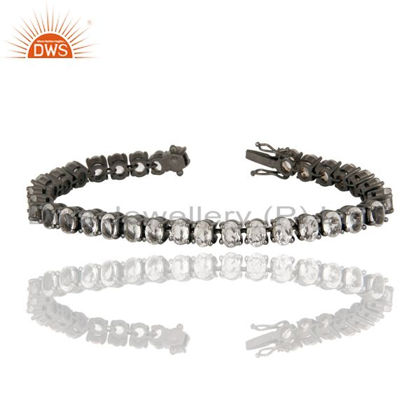 Black Rhodium Plated Sterling Silver Crystal QUartz Gemstone Cluster Bracelet