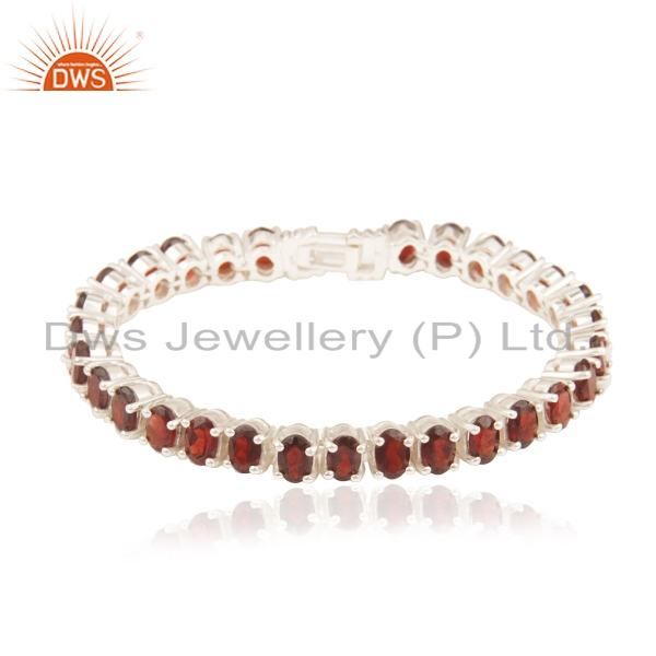Natural Garnet Gemstone 925 Sterling Silver Single Strand Bracelet Wholesale