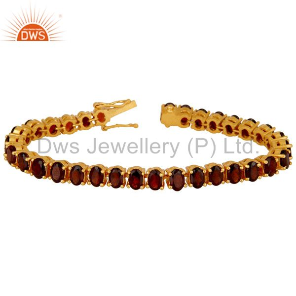 18K Yellow Gold Plated Sterling Silver Garnet Gemstone Tennis Bracelet
