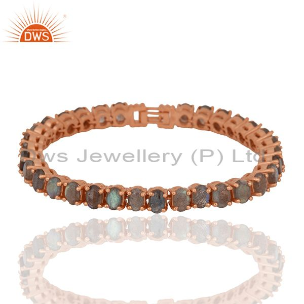 Labradorite Gemstone Rose Gold Plated 925 Silver Tennis Bracelet Wholesale