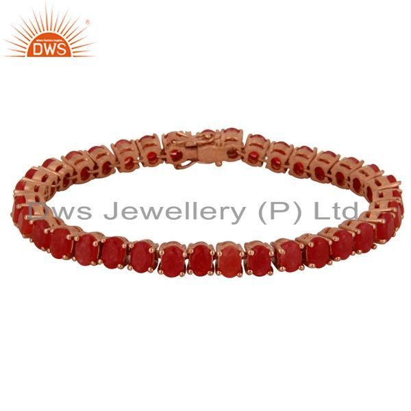 18K Rose Gold Plated Sterling Silver Red Aventurine Gemstone Tennis Bracelet