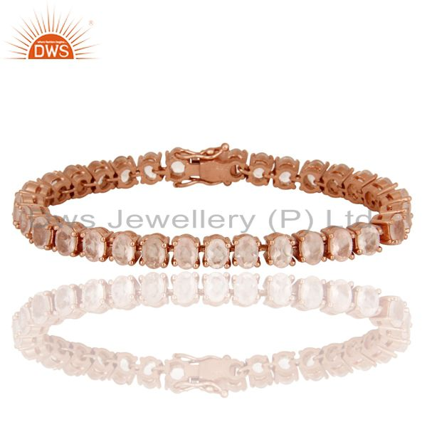 18K Rose Gold Plated Sterling Silver Rose Chalcedony Gemstone Tennis Bracelet