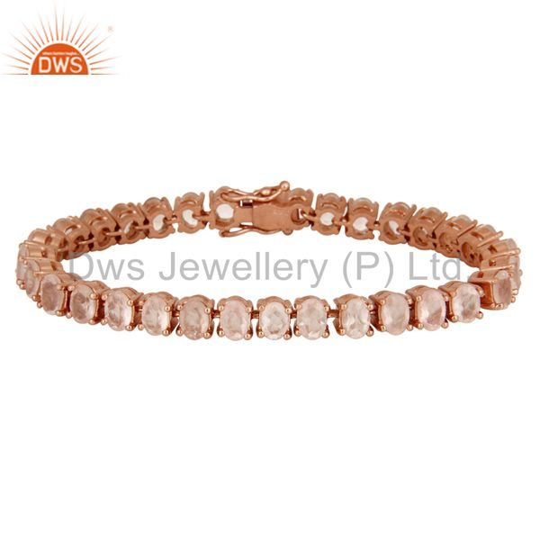 18K Rose Gold Plated Sterling Silver Rose Quartz Gemstone Womens Tennis Bracelet