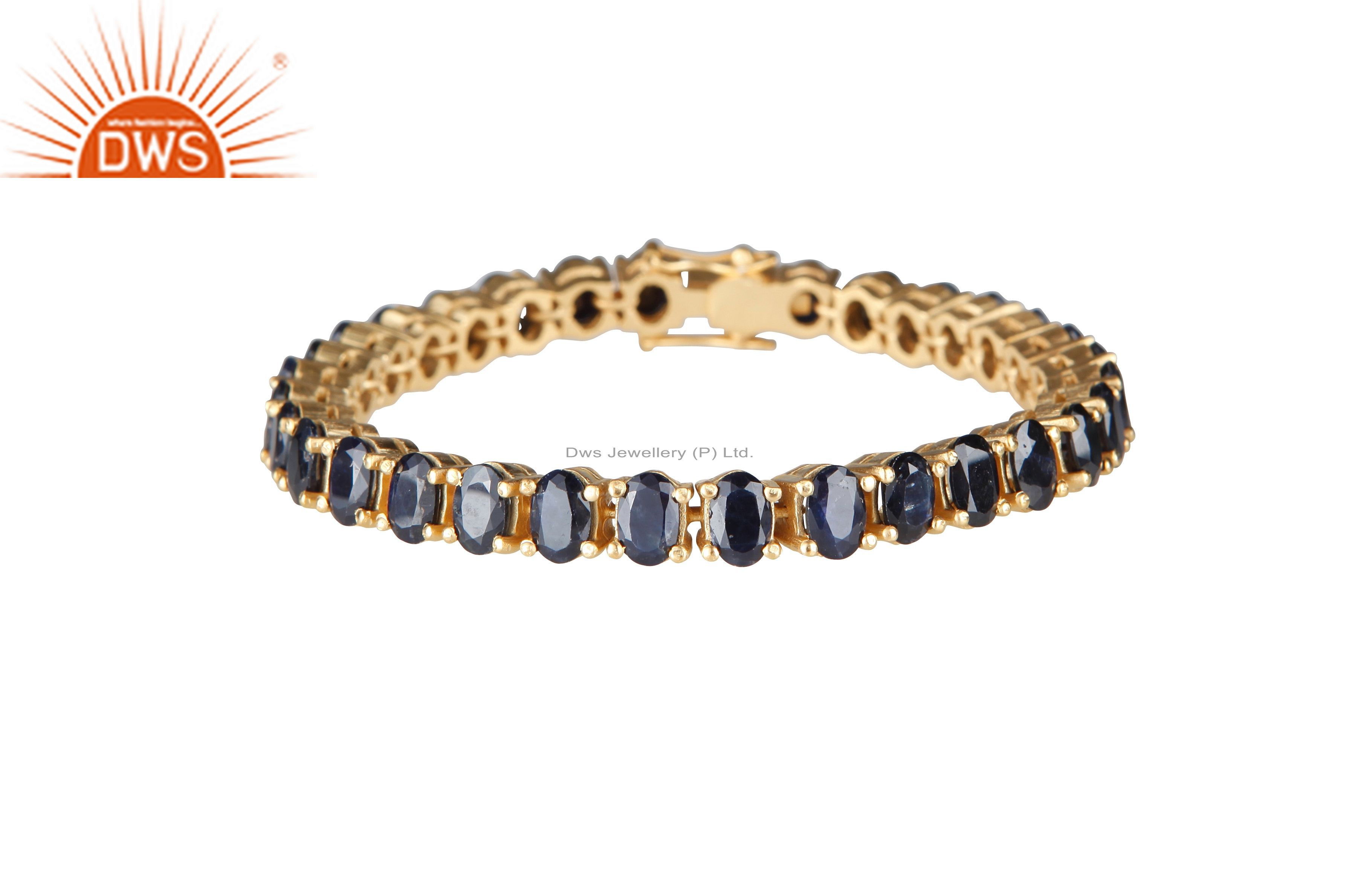 14K Yellow Gold Plated Sterling Silver Blue Sapphire Gemstone Tennis Bracelet