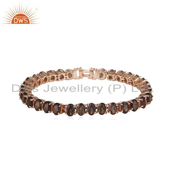 Smoky Quartz Gemstone Single Strand 925 Silver Rose Gold Bracelet
