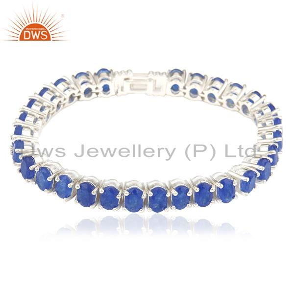 Blue Aventurine Gemstone 925 Sterling Silver Single Strand Bracelet Manufacturer