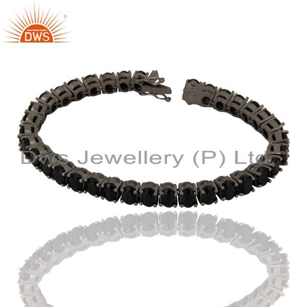 Oxidized Solid Sterling Silver Black Onyx Gemstone Tennis Bracelet Jewelry