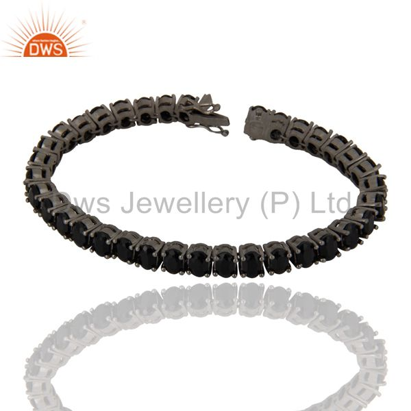 18K Rose Gold Plated Sterling Silver Black Onyx Tennis Bracelet Jewelry