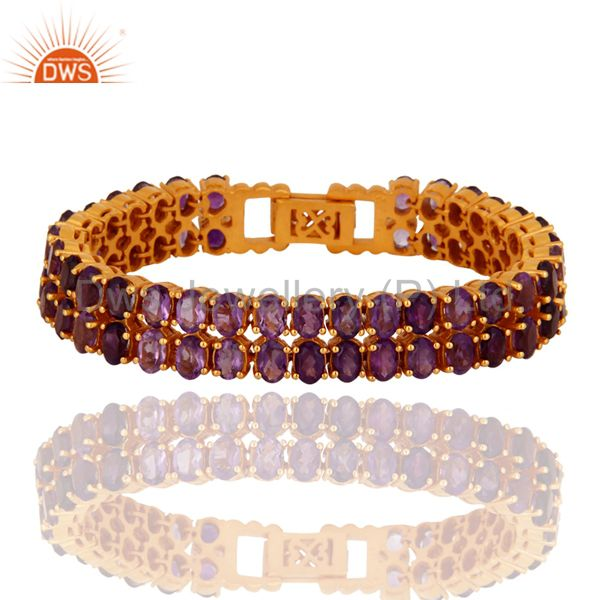 18K Yellow Gold Plated Sterling Silver Amethyst Gemstone Tennis Bracelet