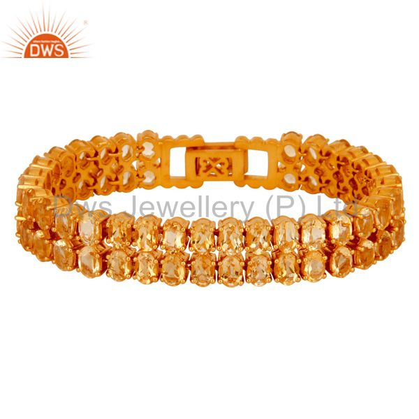 18K Yellow Gold Plated Sterling Silver Citrine Gemstone Tennis Bracelet Jewelry