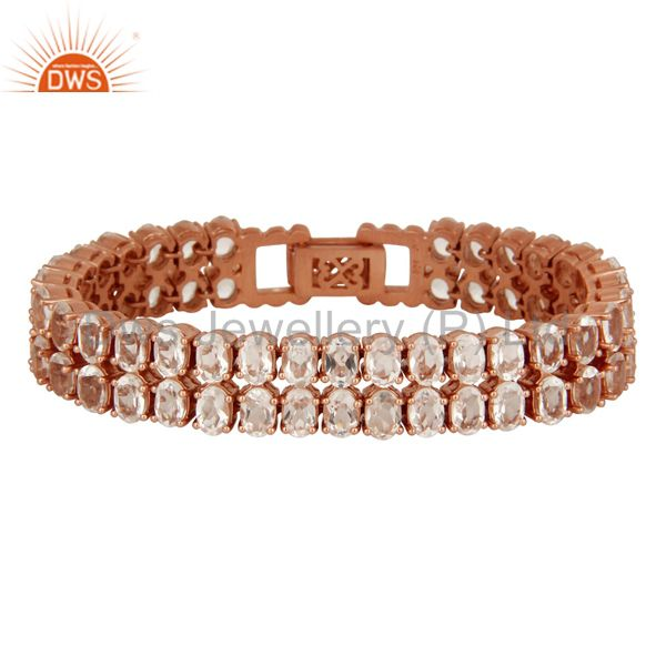 18K Rose Gold Plated Sterling Silver Crystal Quartz Gemstone Tennis Bracelet