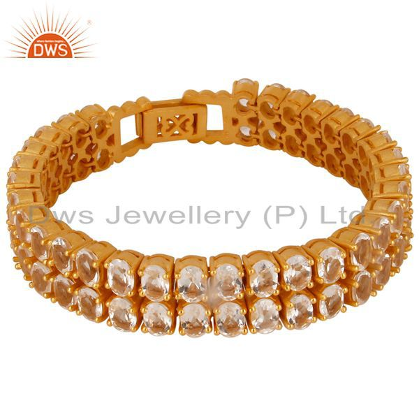 18k yellow gold plated sterling silver crystal quartz gemstone tennis bracelet