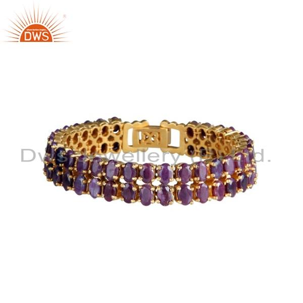 18k yellow gold plated sterling silver natural ruby gemstone prong set bracelet