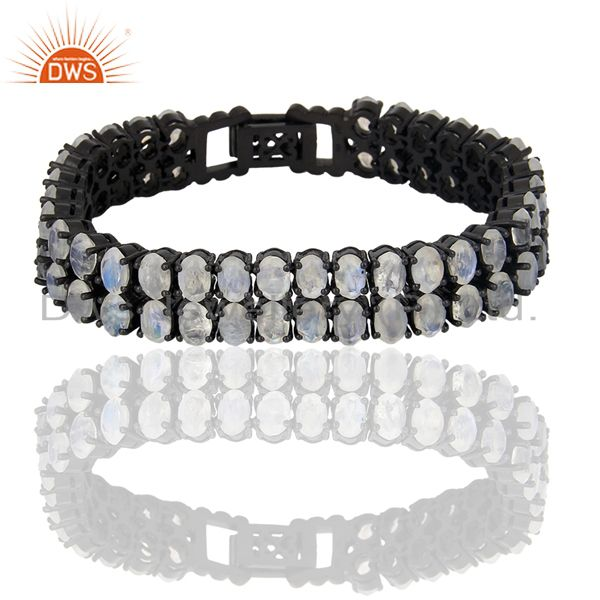 Rainbow Moon Stone Tennis Sterling Silver Black Rhodium Plated Bracelet