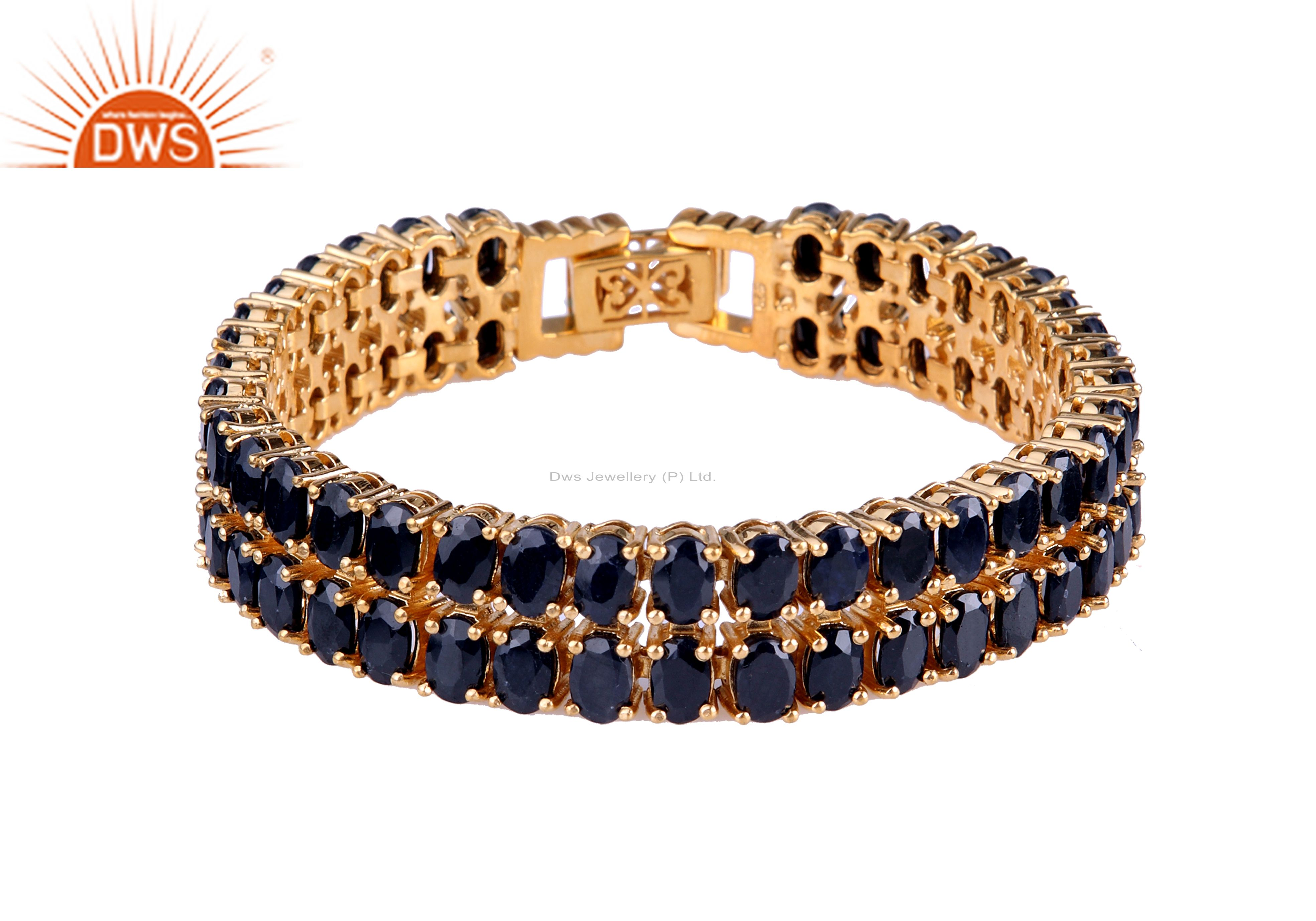 18K Yellow Gold Plated Sterling Silver Blue Sapphire Gemstone Tennis Bracelet