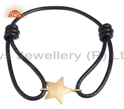 18k yellow gold plated sterling silver star charm macrame bracelet