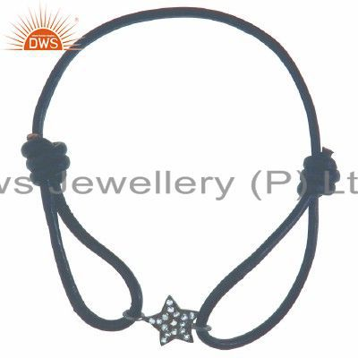 925 Sterling Silver Cubic Zirconia Star Charm Black Cord Macrame Bracelet