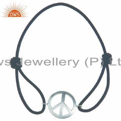 925 Solid Sterling Silver Peace Sign Macrame Bracelet Jewelry