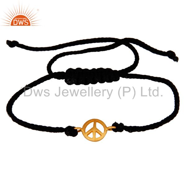 18K Gold Plated Sterling Silver Peace sign Charm Macrame Unisex Bracelet