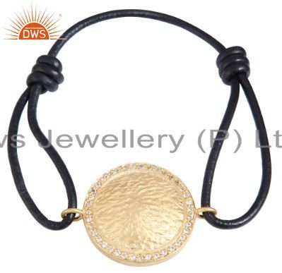 18K Yellow Gold Plated Sterling Silver White Topaz Disc Charm Macrame Bracelet