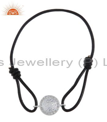 925 Solid Sterling Silver Disc Charms Black Cord Macrame Bracelet