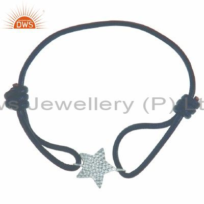 925 Solid Sterling Silver Textured Star Charms Black Cord Macrame Bracelet