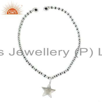 925 Solid Sterling Silver Chain Womens Fashion Bracelet With Star Charms