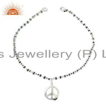Solid 925 sterling silver rope chain womens fashion bracelet with peace charms