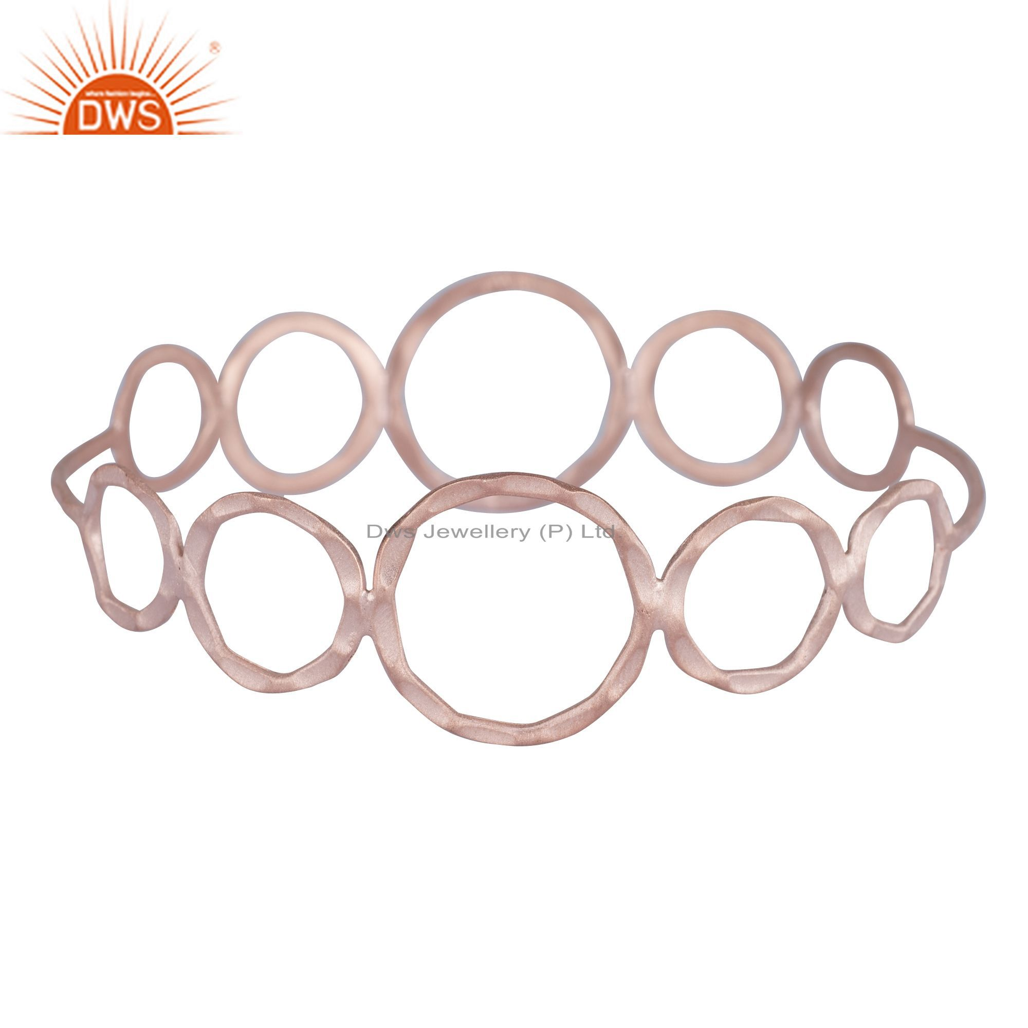18k rose gold plated sterling silver hammered open circle bangle
