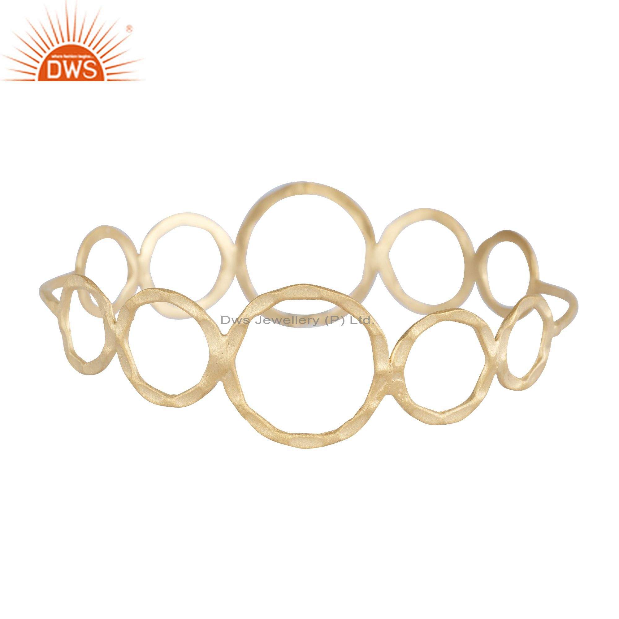 22K Yellow Gold Plated Sterling Silver Hammered Open Circle Bangle Bracelet