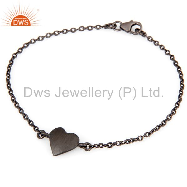 Oxidized sterling silver heart charms link charms bracelet with lobster lock