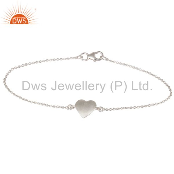 925 Sterling Silver Heart Charms Link Charms Bracelet With Lobster Lock
