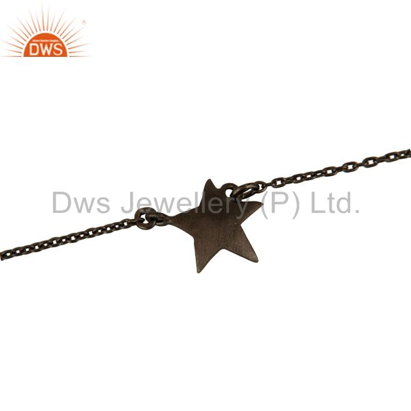Black Rhodium Plated Sterling Silver Star Charm Link Chain Bracelet With Lobster
