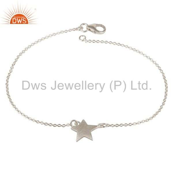 Womens 925 Sterling Silver Star Charm Link Chain Bracelet